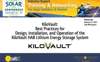 Best Practices for Design Installation Operation of the KiloVault HAB Lithium Energy Storage System